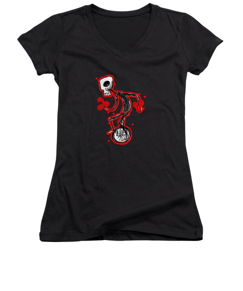 Cyclops On A Unicycle Women's V-Neck T-Shirt (Junior Cut) by Matt Mawson