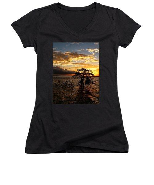 Cypress Sunset Women's V-Neck T-Shirt (Junior Cut) by Judy Vincent