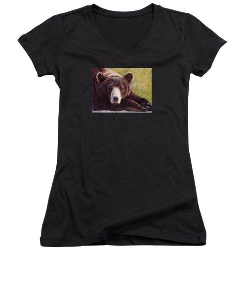 Da Bear Women's V-Neck T-Shirt (Junior Cut) by Billie Colson