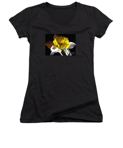 Women's V-Neck T-Shirt (Junior Cut) featuring the photograph Daffodil 2 by Rose Santuci-Sofranko