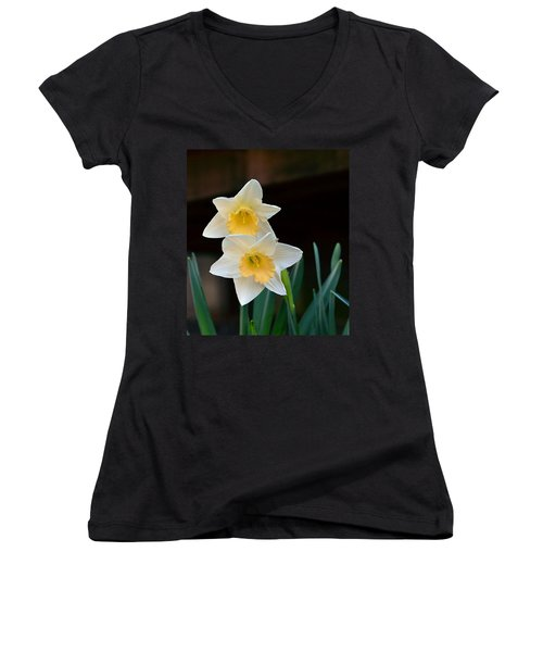 Daffodil Women's V-Neck T-Shirt (Junior Cut) by Kathy Eickenberg
