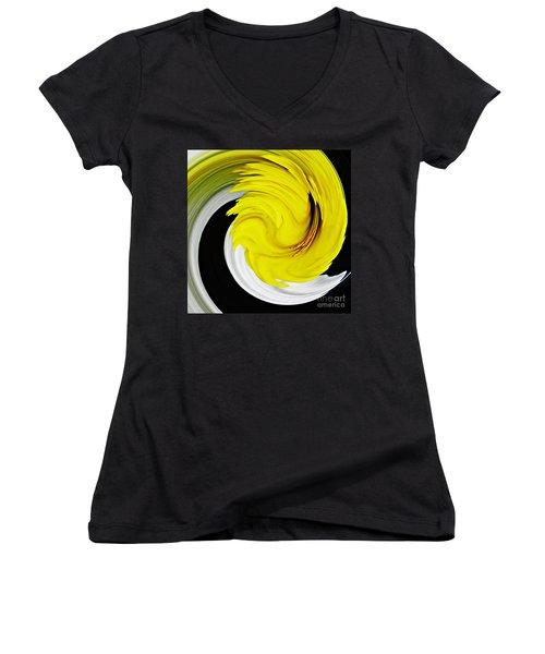 Daffodil Twist Women's V-Neck T-Shirt (Junior Cut) by Sarah Loft