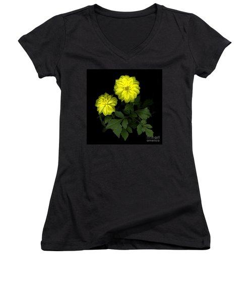 Dahlia Women's V-Neck T-Shirt (Junior Cut) by Christian Slanec