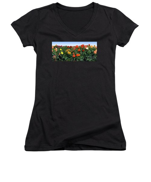 Dahlia Flower Panorama Women's V-Neck (Athletic Fit)