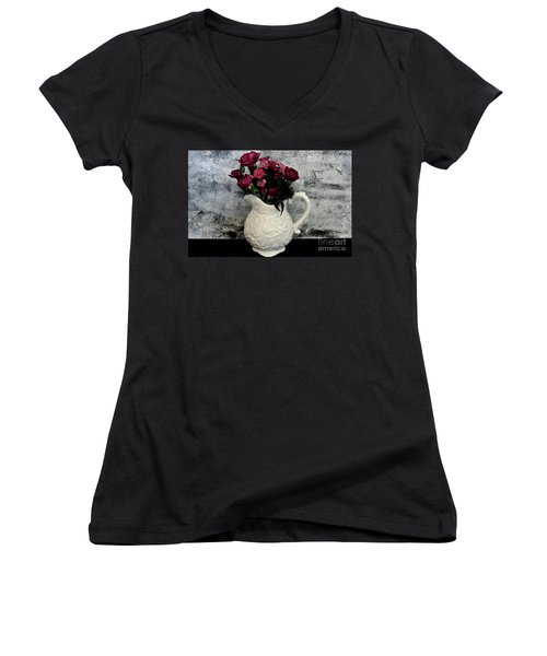 Dainty Flowers Women's V-Neck T-Shirt (Junior Cut) by Marsha Heiken