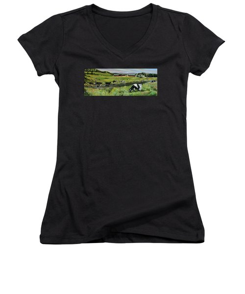 Women's V-Neck T-Shirt (Junior Cut) featuring the painting Dairy Farm Dream by Nancy Griswold