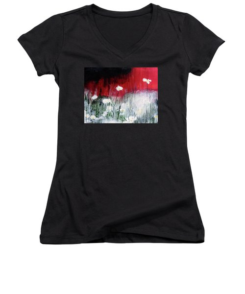 Women's V-Neck T-Shirt (Junior Cut) featuring the painting Daisies by Mary Ellen Frazee