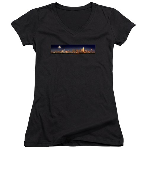 Dallas Skyline At Dusk Big Moon Night  Women's V-Neck T-Shirt