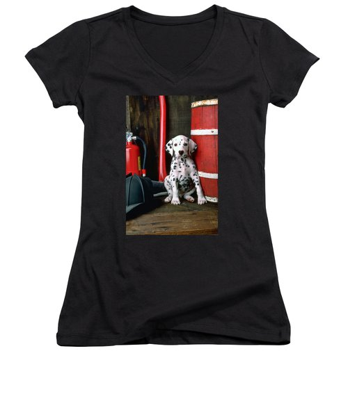 Dalmatian Puppy With Fireman's Helmet  Women's V-Neck T-Shirt