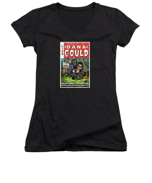 Dana Gould At The Helium Comedy Club Women's V-Neck T-Shirt (Junior Cut) by Mark Tavares