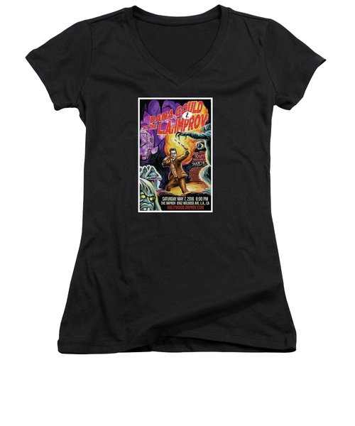 Dana Gould At The L.a. Improv Women's V-Neck T-Shirt (Junior Cut) by Mark Tavares