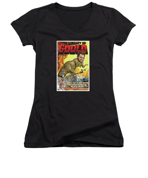 Dana Gould At The Throckmorton Theatre Women's V-Neck T-Shirt (Junior Cut) by Mark Tavares