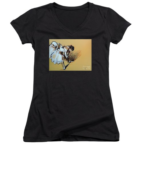 Dancer Adjusting Her Slipper Women's V-Neck T-Shirt (Junior Cut) by Jodie Marie Anne Richardson Traugott          aka jm-ART