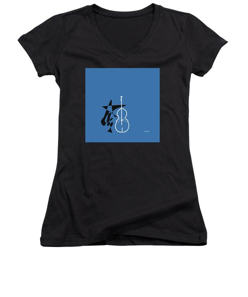 Dancing Bass In Blue Women's V-Neck T-Shirt (Junior Cut) by David Bridburg