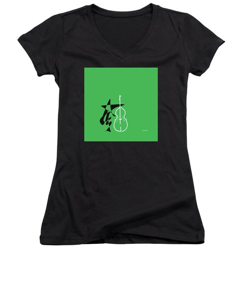 Dancing Bass In Green Women's V-Neck T-Shirt (Junior Cut) by David Bridburg