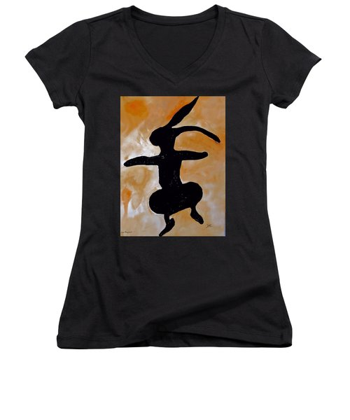 Dancing Bunny Women's V-Neck
