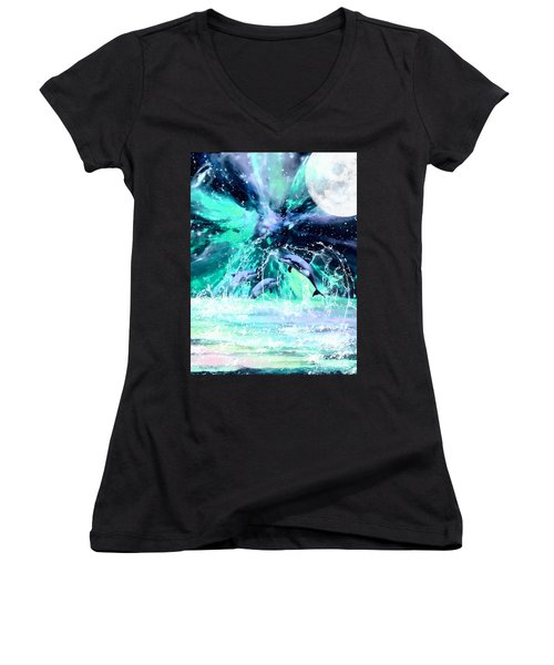 Dancing Dolphins Under The Moon Women's V-Neck