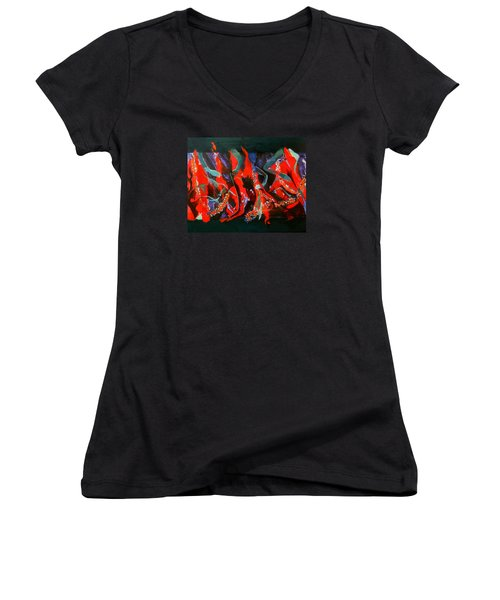 Women's V-Neck T-Shirt (Junior Cut) featuring the painting Dancing Flames by Georg Douglas