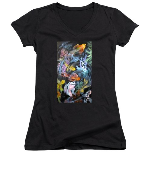 Dancing Koi Women's V-Neck (Athletic Fit)