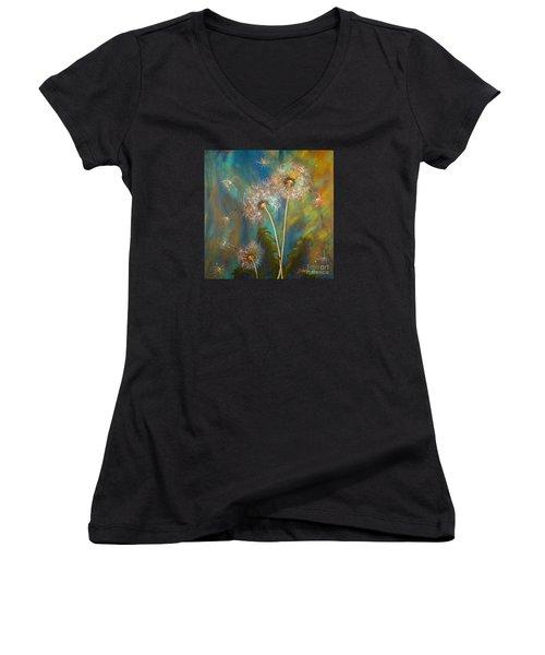 Dandelion Wishes Women's V-Neck T-Shirt (Junior Cut) by Deborha Kerr