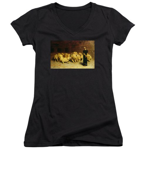 Daniel In The Lions Den Women's V-Neck (Athletic Fit)