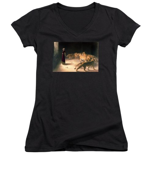 Daniel's Answer To The King Women's V-Neck T-Shirt (Junior Cut) by Mountain Dreams