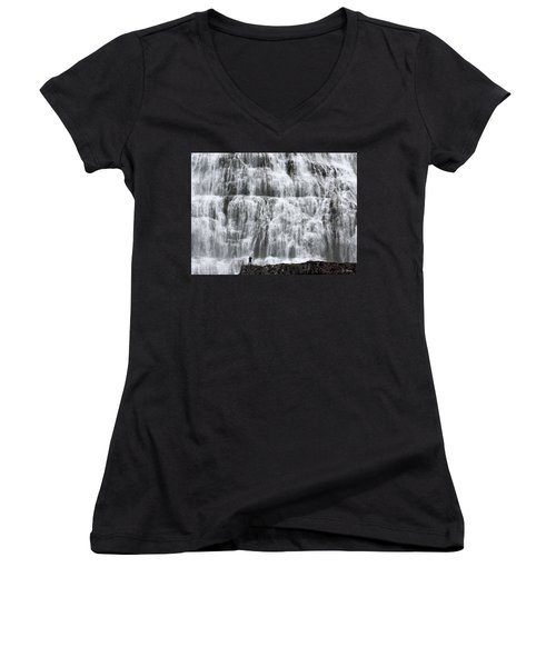 Women's V-Neck T-Shirt (Junior Cut) featuring the photograph Dynjandi Daredevil by Joe Bonita