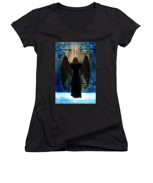 Dark Angel At Church Doors Women's V-Neck T-Shirt