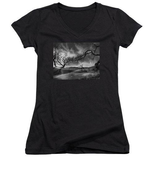 Dark Cemetary Women's V-Neck T-Shirt (Junior Cut) by James Christopher Hill