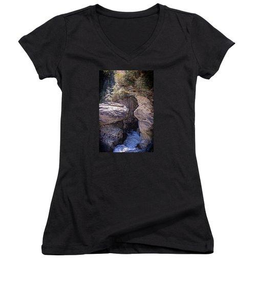 Dark Chasm Women's V-Neck T-Shirt (Junior Cut) by Alan Raasch
