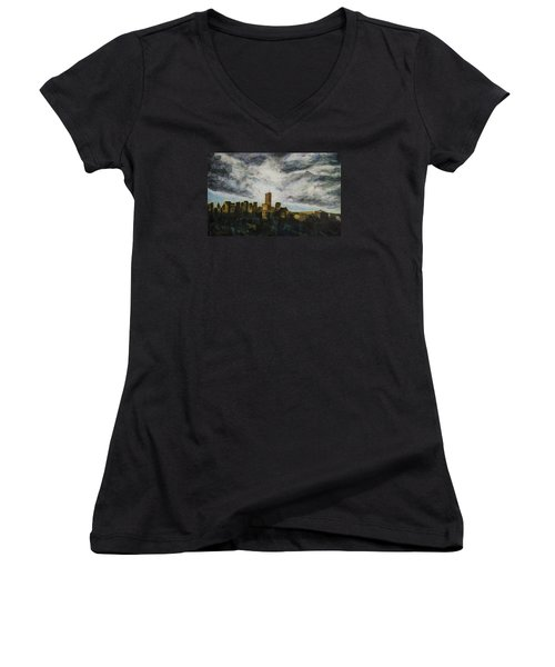 Women's V-Neck T-Shirt (Junior Cut) featuring the painting Dark Clouds Approaching by Ron Richard Baviello