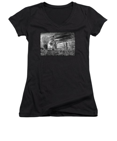 Women's V-Neck T-Shirt (Junior Cut) featuring the photograph Dark Days by Brian Wallace