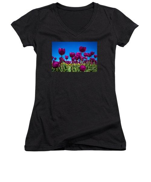 Dark Purple Tulips Women's V-Neck T-Shirt (Junior Cut) by John Roberts