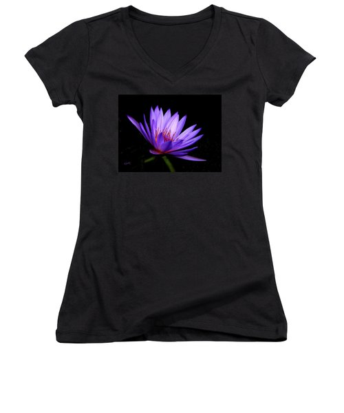 Dark Side Of The Purple Water Lily Women's V-Neck T-Shirt