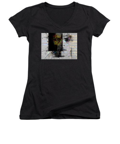 Women's V-Neck T-Shirt (Junior Cut) featuring the painting Dark Star by Paul Lovering