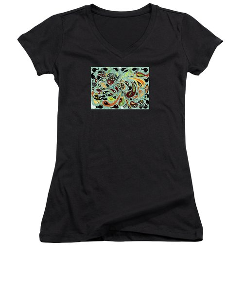 Dark Star Swims Among The Fishes Women's V-Neck T-Shirt (Junior Cut) by Carol Jacobs