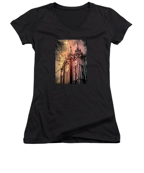 Dark Temple Women's V-Neck (Athletic Fit)
