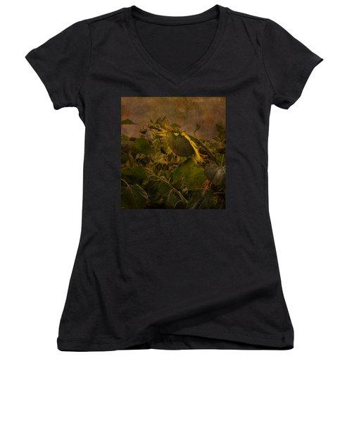 Dark Textured Sunflower Women's V-Neck T-Shirt (Junior Cut) by Arlene Carmel