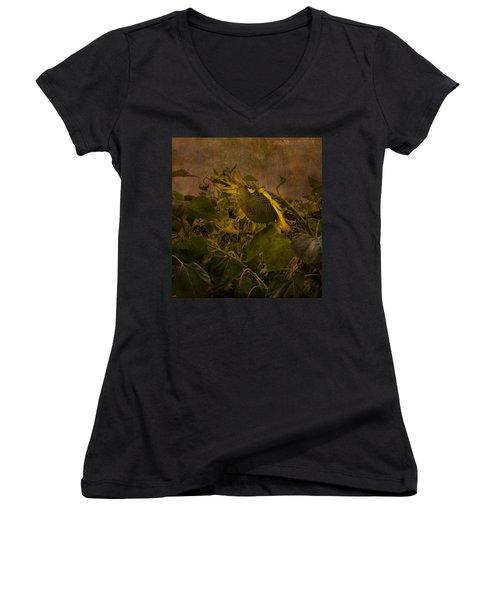 Dark Textured Sunflower Women's V-Neck