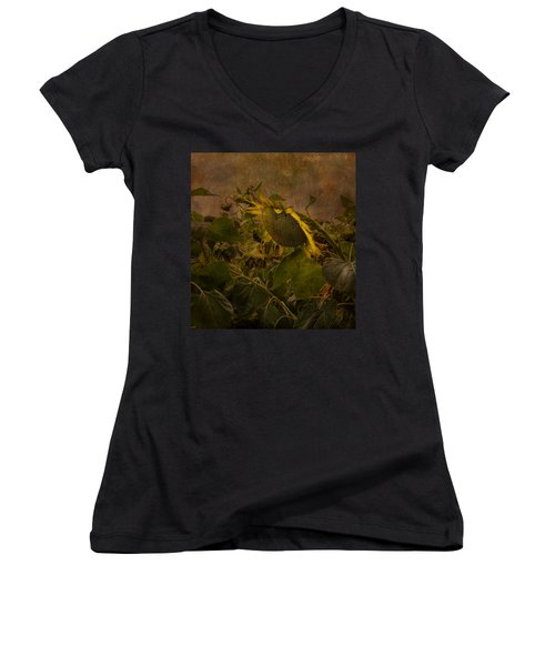 Dark Textured Sunflower Women's V-Neck
