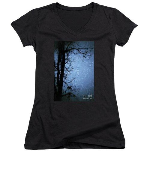 Dark Tree Silhouette  Women's V-Neck T-Shirt (Junior Cut) by Jason Nicholas