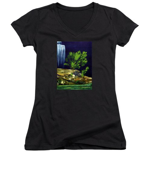 Women's V-Neck T-Shirt (Junior Cut) featuring the painting Dark Waters by Patricia Griffin Brett