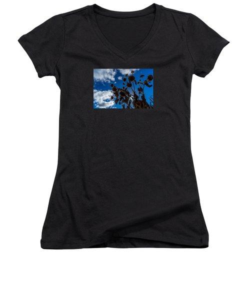 Darkening Skies Women's V-Neck T-Shirt (Junior Cut) by Derek Dean