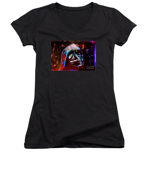 Darth Vader's Melted Helmet Women's V-Neck T-Shirt