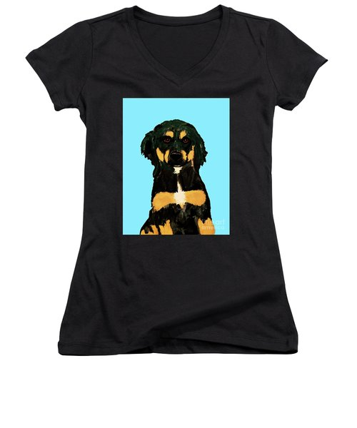 Date With Paint Sept 18 9 Women's V-Neck T-Shirt (Junior Cut) by Ania M Milo