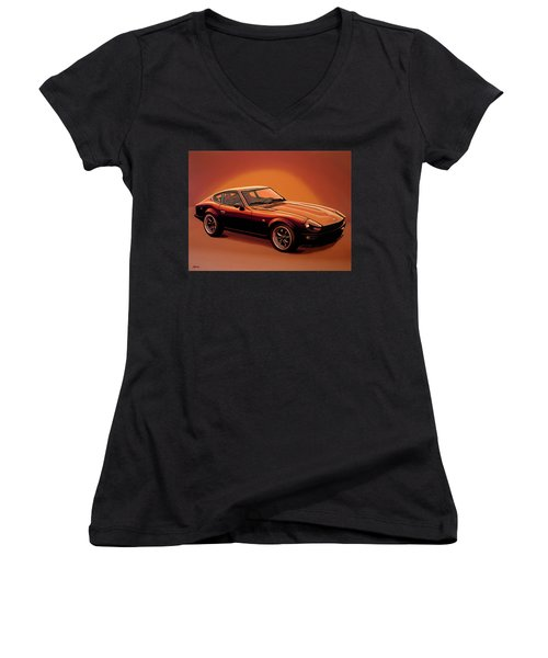 Datsun 240z 1970 Painting Women's V-Neck T-Shirt (Junior Cut) by Paul Meijering