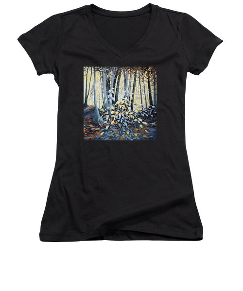 Women's V-Neck T-Shirt (Junior Cut) featuring the painting Natures Dance by Joanne Smoley