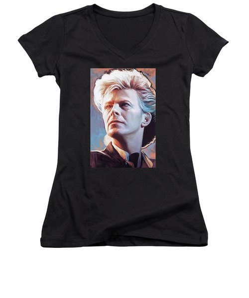 Women's V-Neck T-Shirt (Junior Cut) featuring the painting David Bowie Artwork 2 by Sheraz A