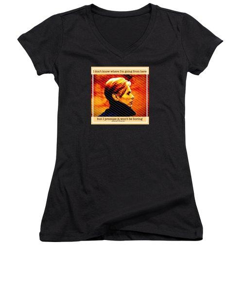 David Bowie Women's V-Neck T-Shirt (Junior Cut) by Laura Michelle Corbin