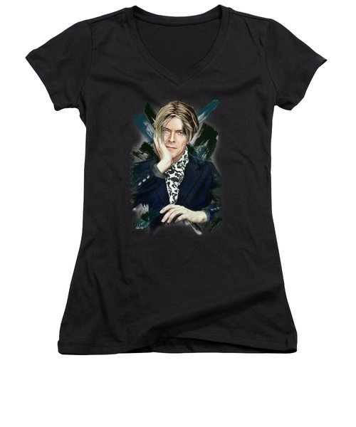 David Bowie Women's V-Neck